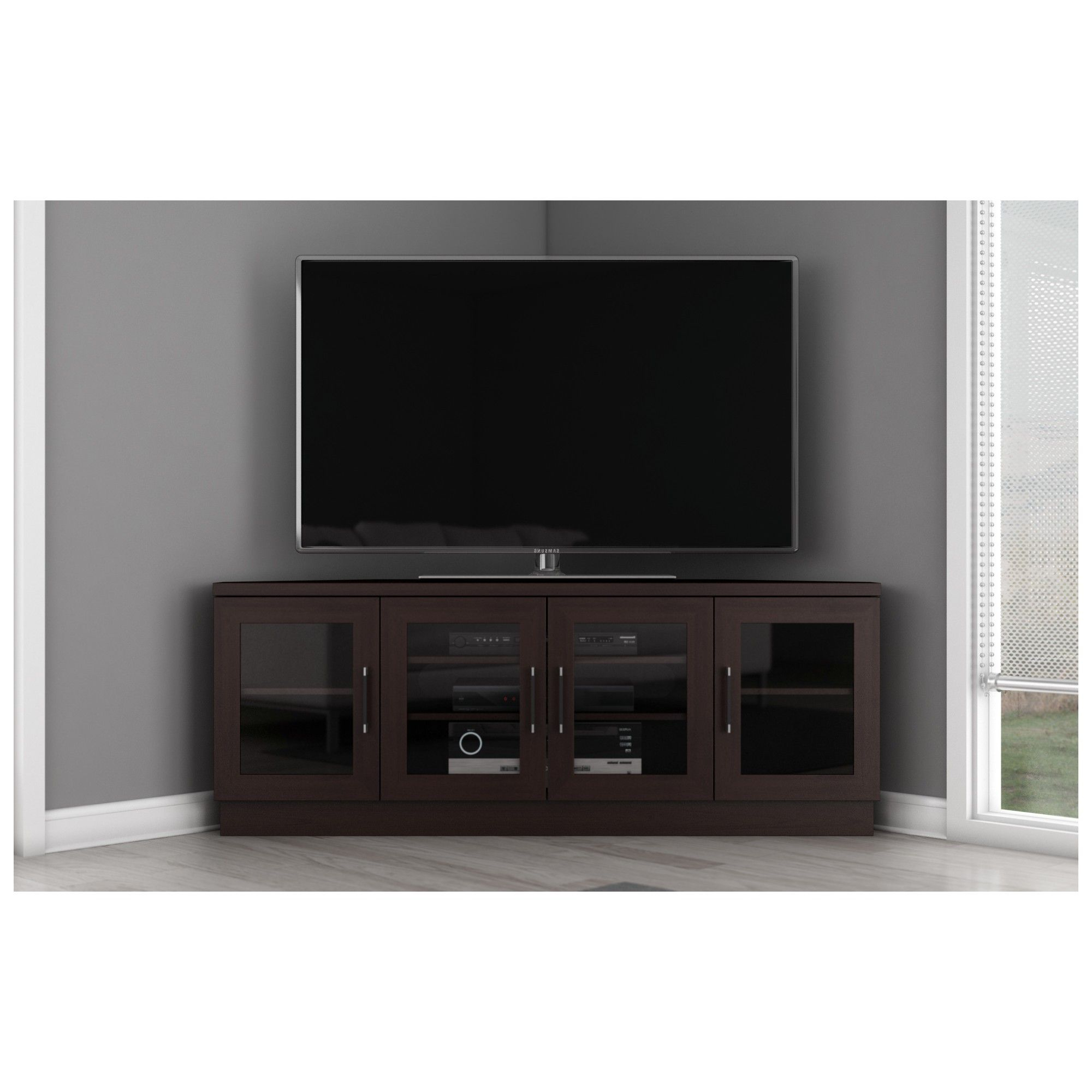 """60"""" Tv Stand Contemporary Corner Media Cabinet In Wengefurnitech With Most Recent Wenge Tv Cabinets (View 5 of 20)"""