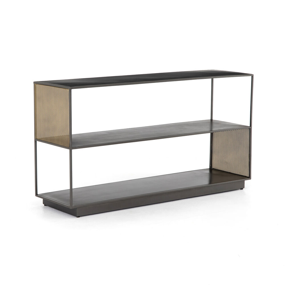 "60"" Wide Gabriele Media Console Iron In Gunmetal Perforated Brass Intended For Most Recent Gunmetal Perforated Brass Media Console Tables (View 3 of 20)"