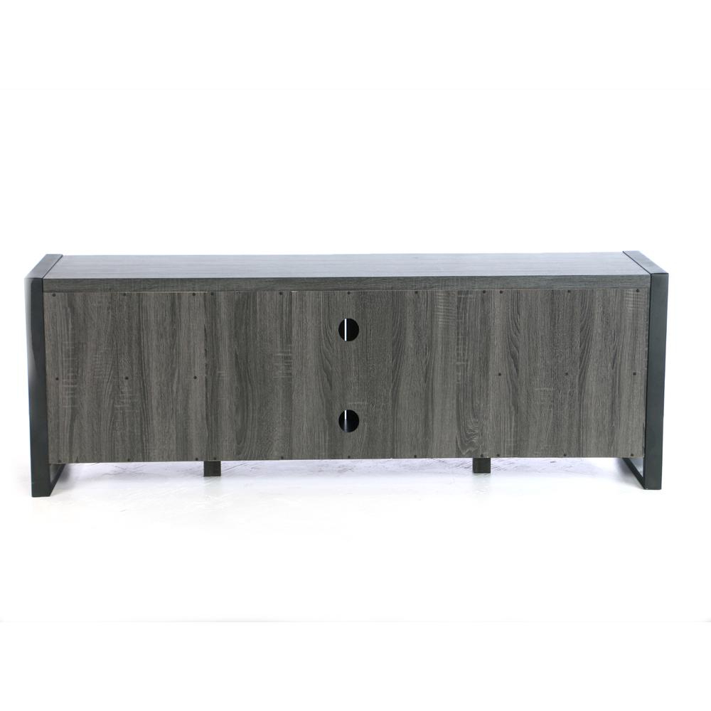 "70"" Charcoal Grey Wood Tv Stand Console Pertaining To Most Current Grey Wood Tv Stands (View 20 of 20)"