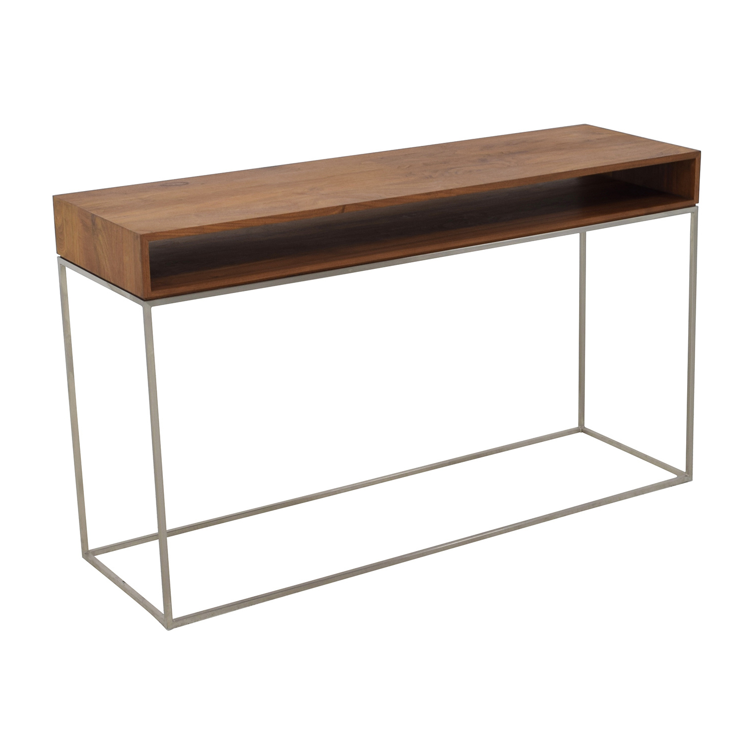 70 Off Cb2 Cb2 Wood And Metal Frame Console Table Tables Tall Narrow Pertaining To Fashionable Frame Console Tables (View 2 of 20)