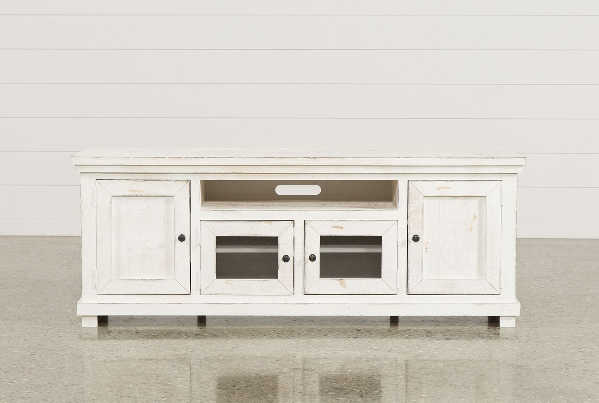 74 Inch Tv Stand, Sinclair White, Weathered White (View 5 of 20)