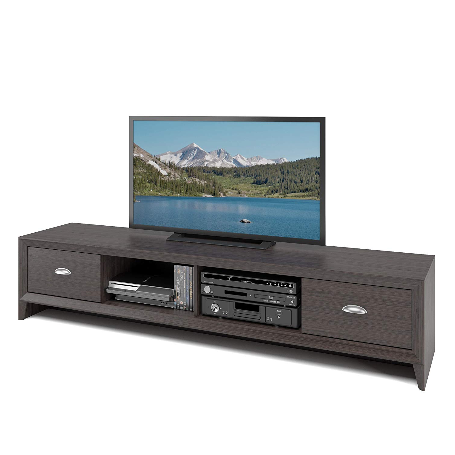 80 Inch Tv Stands Intended For Popular Amazon: Corliving Tlk 872 B Lakewood Tv Bench, Modern Wenge (Gallery 2 of 20)