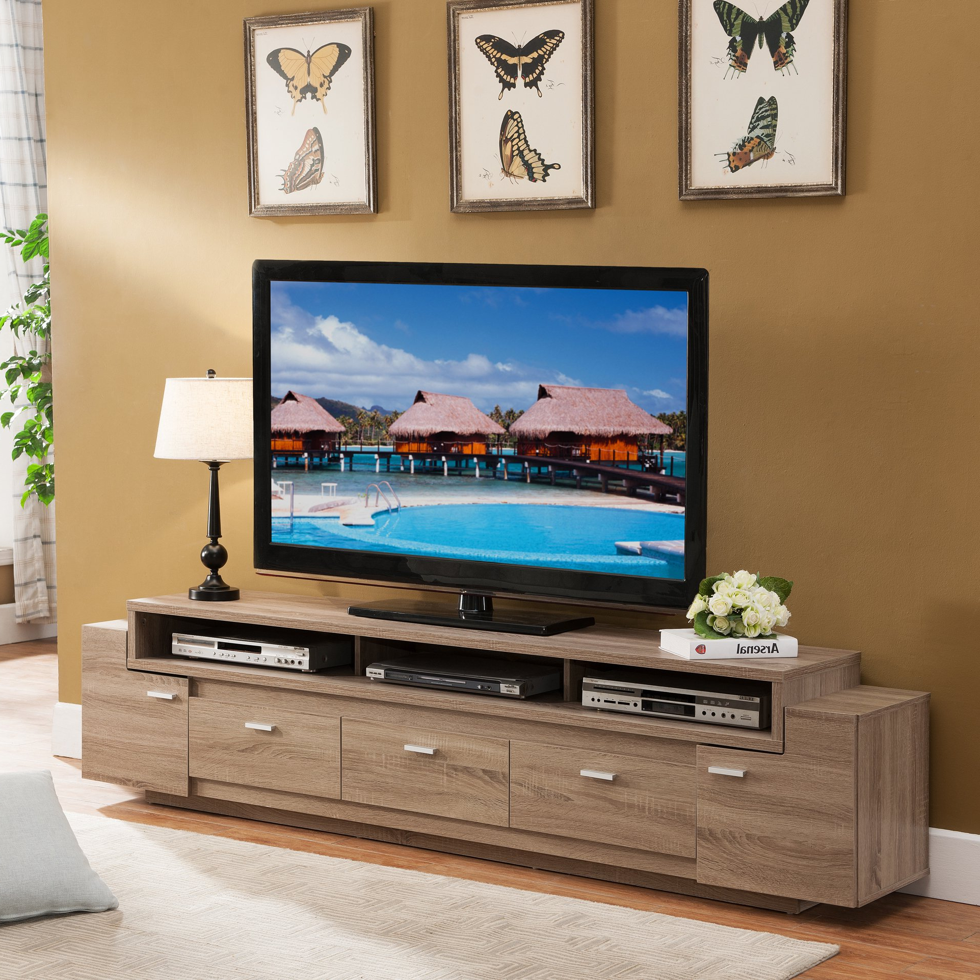 84 Inch Tv Stands Pertaining To Latest Shop Porch & Den Hubbard 84 Inch Tiered Tv Stand – On Sale – Free (View 11 of 20)