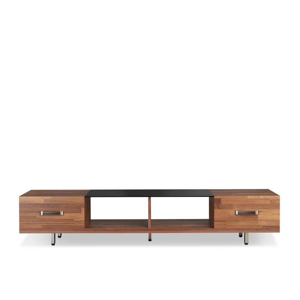 Acme Furniture Sara I Walnut And Smoky Glass Tv Stand 91790 – The Inside Most Recent Wood Tv Stand With Glass (Gallery 17 of 20)