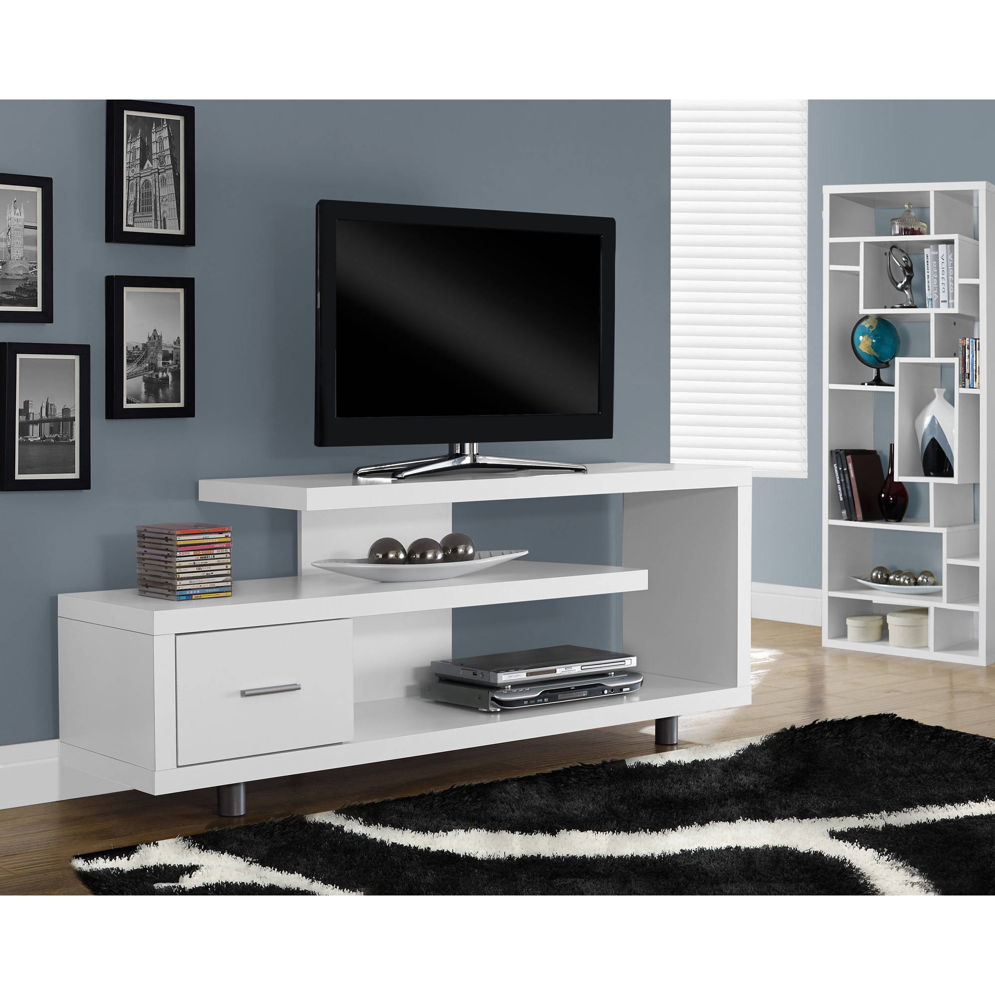 "All Modern Tv Stands With Newest 60"" Tv Stand Console Shelves Drawer Table Entertainment Wood Modern (Gallery 35 of 36)"