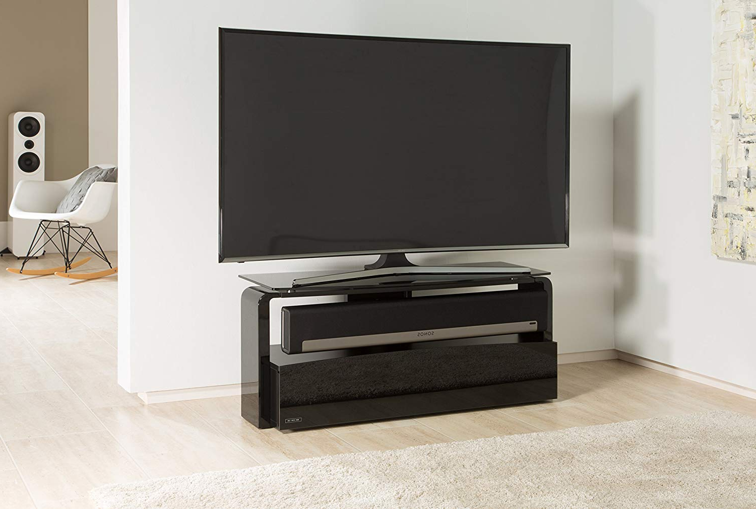 Alphason As9001 Black Sonos Playbar Tv Stand For Up To 45: Amazon.co Regarding Most Current Sonos Tv Stands (Gallery 17 of 20)
