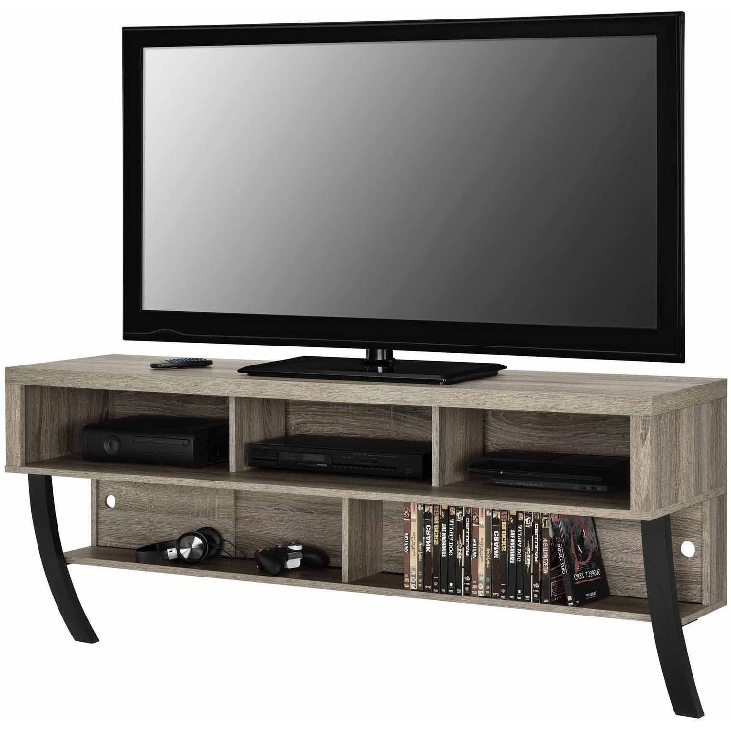 """Altra Asher Wall Mounted 65"""" Tv Stand, Black Oak Regarding Fashionable Tv Stands With Back Panel (View 17 of 20)"""