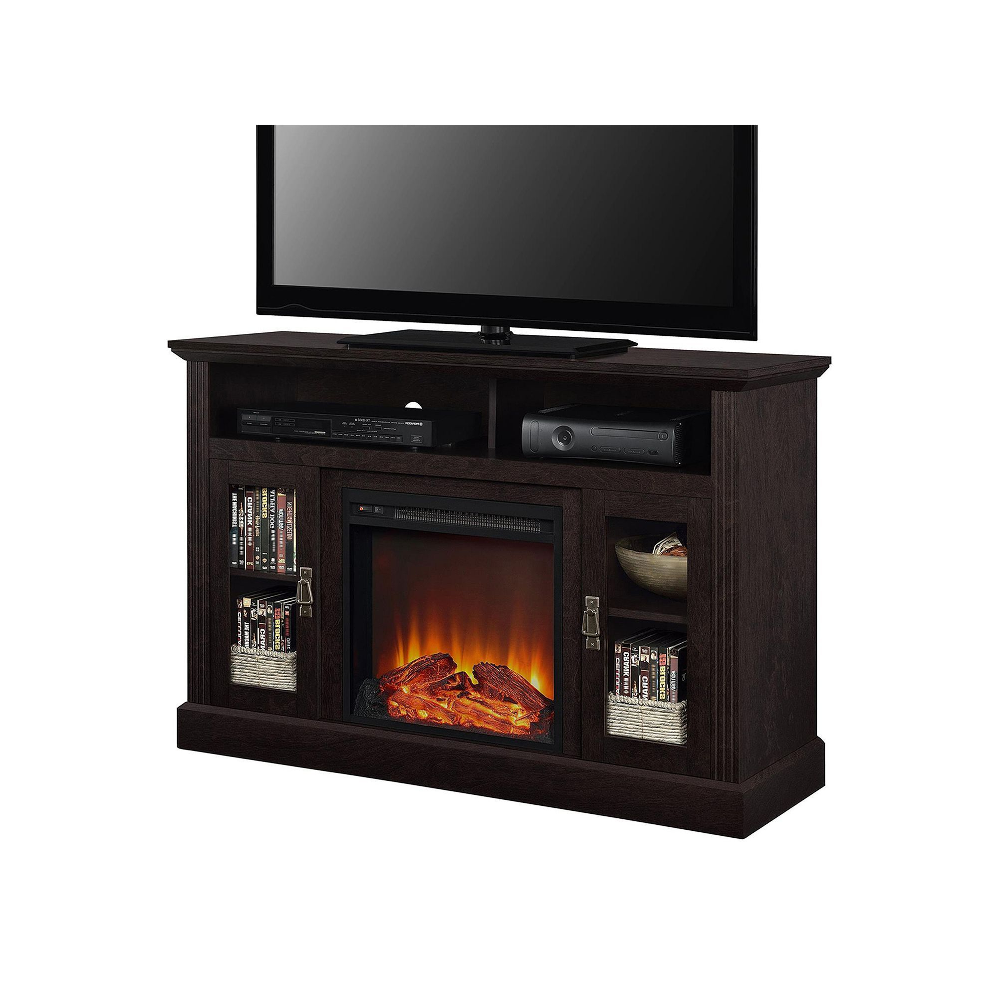 Altra Chicago Electric Fireplace Tv Stand, Brown (Gallery 9 of 20)