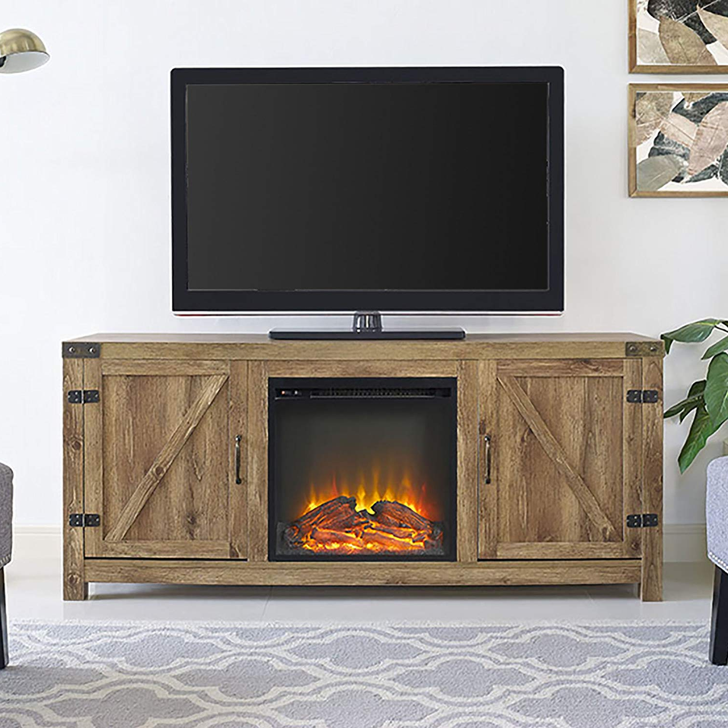 "Amazon: 58"" Barn Door Fireplace Tv Stand , Barnwood: Kitchen Within Favorite Kilian Grey 60 Inch Tv Stands (View 4 of 20)"