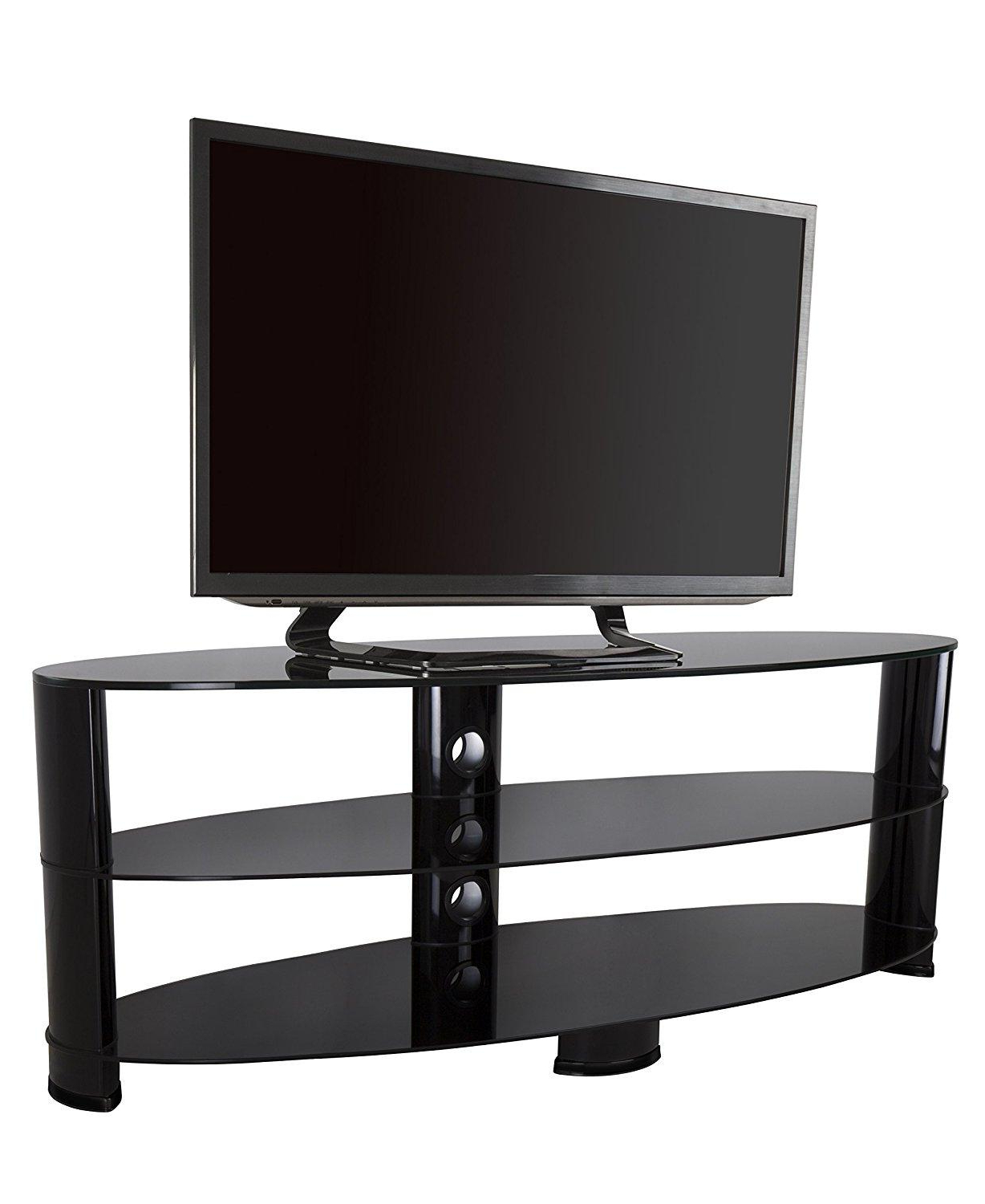 Amazon: Avf Ovl1200bb A Oval Tv Stand, Black And Black Glass Pertaining To Widely Used Preston 66 Inch Tv Stands (View 5 of 20)