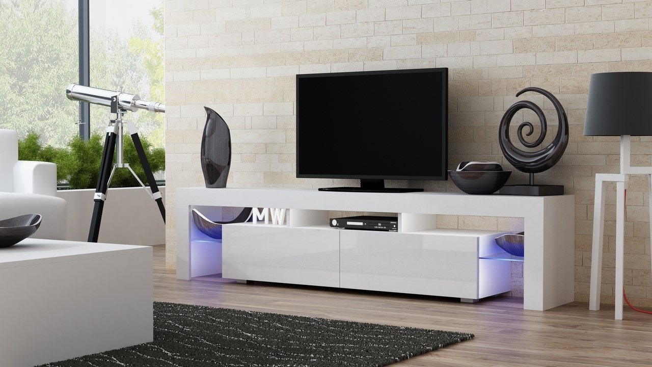 Amazon: Concept Muebles Tv Stand Milano 200 / Modern Led Tv Throughout Current Long White Tv Cabinets (Gallery 5 of 20)
