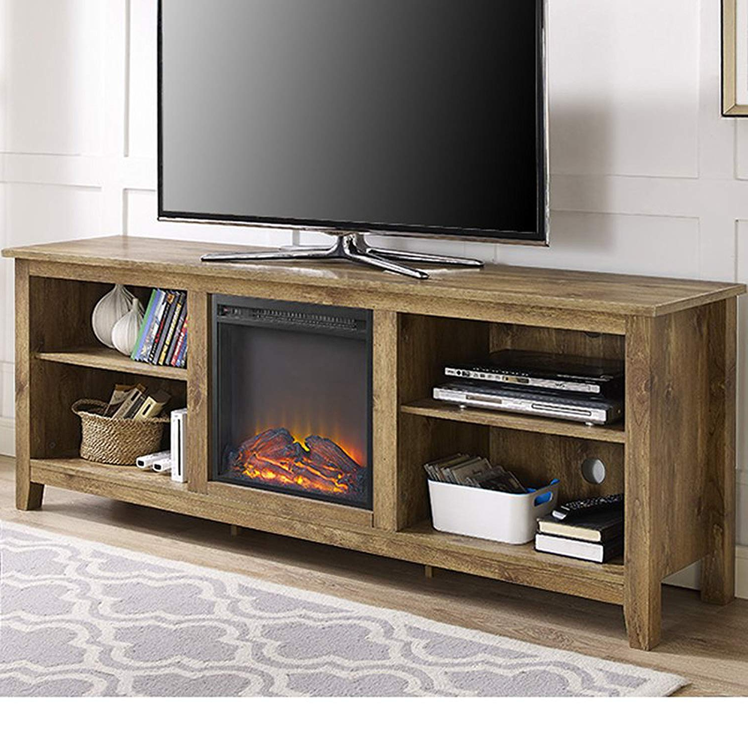 Amazon: Electric Fireplace Tv Stand For Tvs Up To 70 Pertaining To Recent Kilian Grey 74 Inch Tv Stands (View 9 of 20)