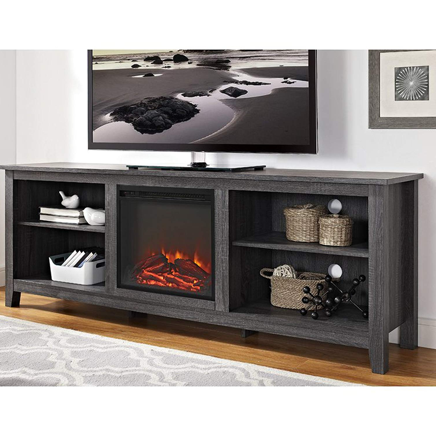 Amazon: Electric Fireplace Tv Stand For Tvs Up To 70 With Regard To Fashionable Kilian Grey 74 Inch Tv Stands (View 12 of 20)