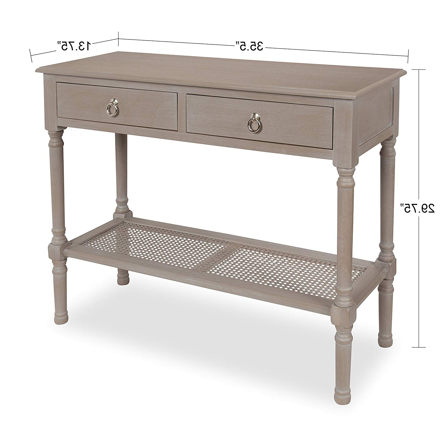 Amazon: Kate And Laurel Cayne Wood Console Table With 2 Drawers Throughout Well Known Natural Cane Media Console Tables (View 1 of 20)