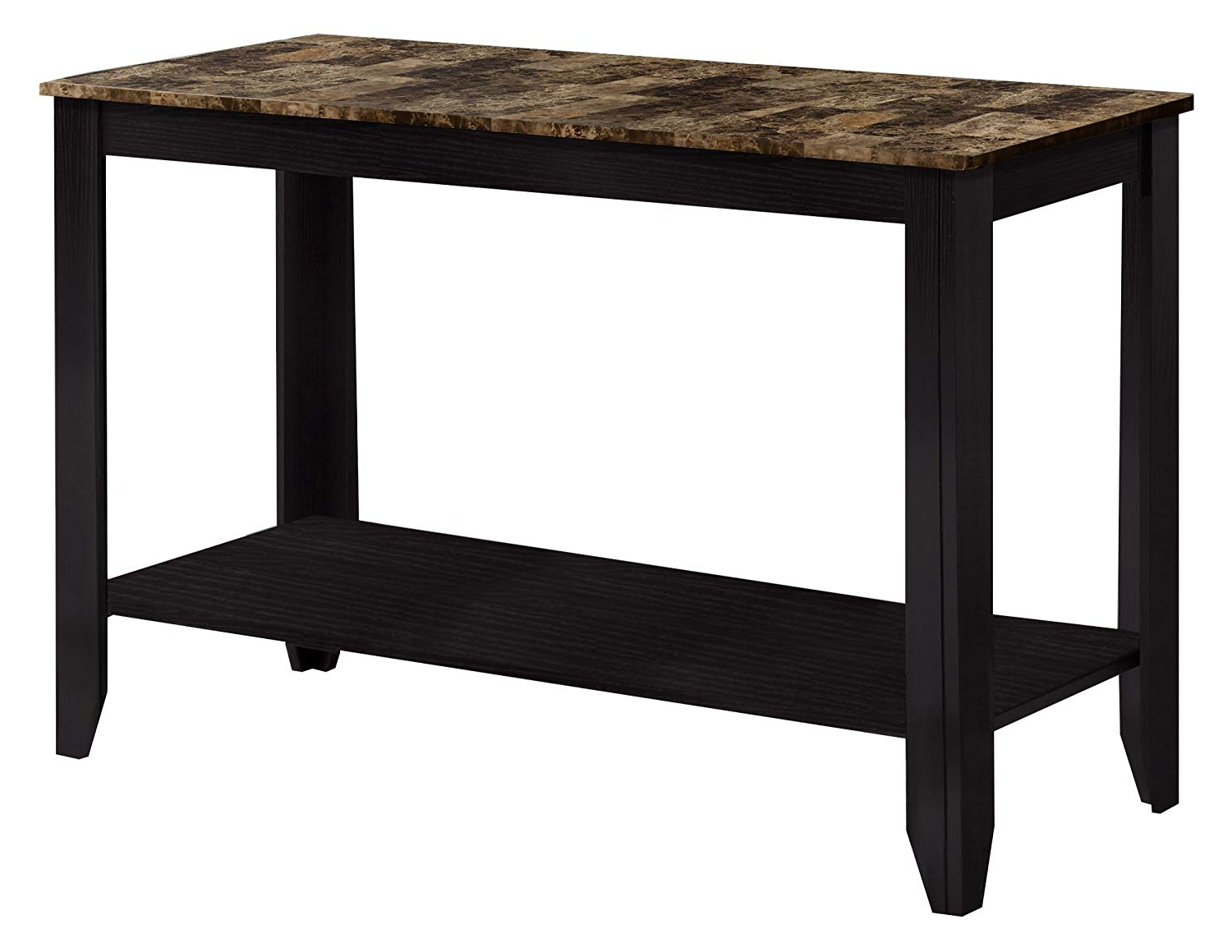 Amazon: Monarch Specialties Marble Look Top Sofa Console Table Intended For Preferred Parsons Grey Solid Surface Top & Dark Steel Base 48x16 Console Tables (View 18 of 20)