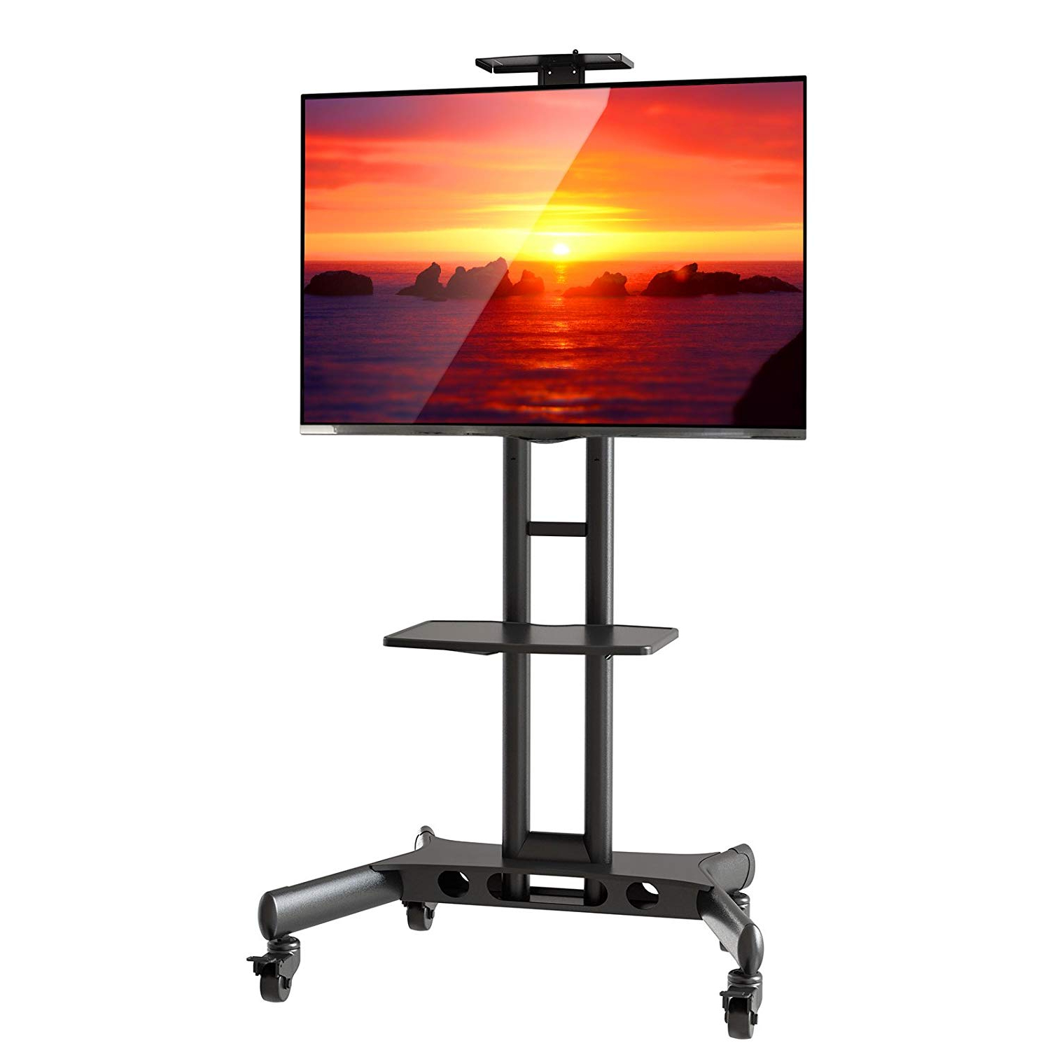 Amazon: Mount Factory Rolling Tv Cart Mobile Tv Stand For 40 65 Intended For Most Popular Slim Tv Stands (View 10 of 20)