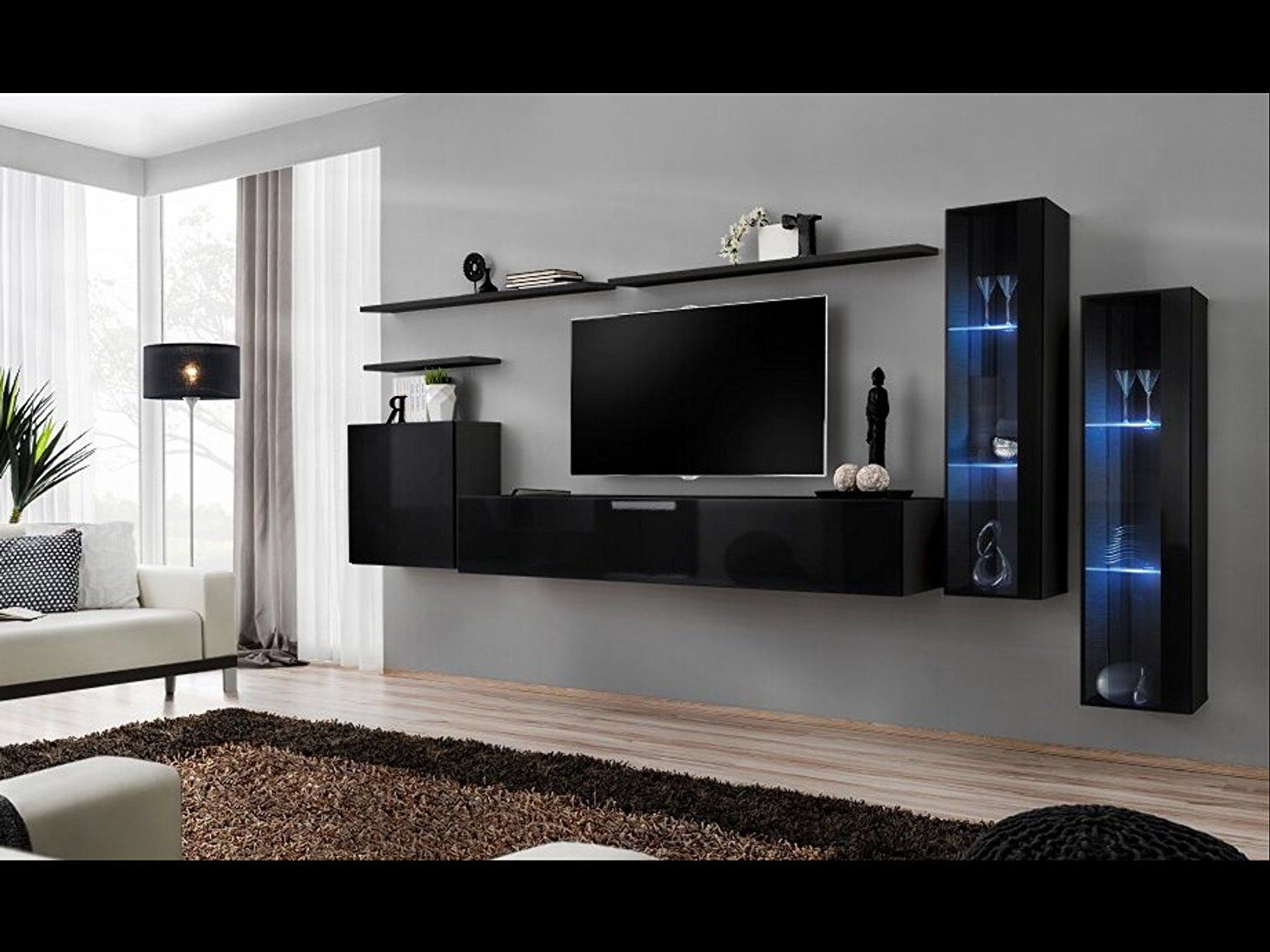 Amazon: Shift Xi – Seattle Collection High Gloss Living Room With Most Current Black Gloss Tv Wall Units (Gallery 13 of 20)
