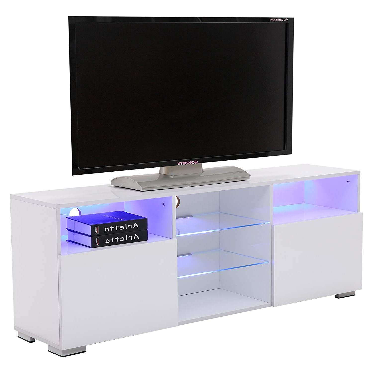 Amazon: Suncoo Tv Stand Media Console Cabinet Led Shelves With 2 For Favorite Willa 80 Inch Tv Stands (Gallery 4 of 20)