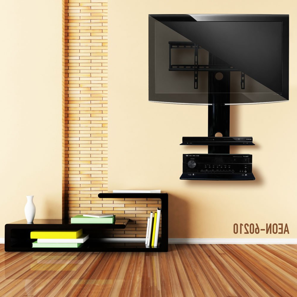 Amazon: Swiveling Tv Wall Mount With Two Shelves (shelf For Trendy Shelves For Tvs On The Wall (View 2 of 20)