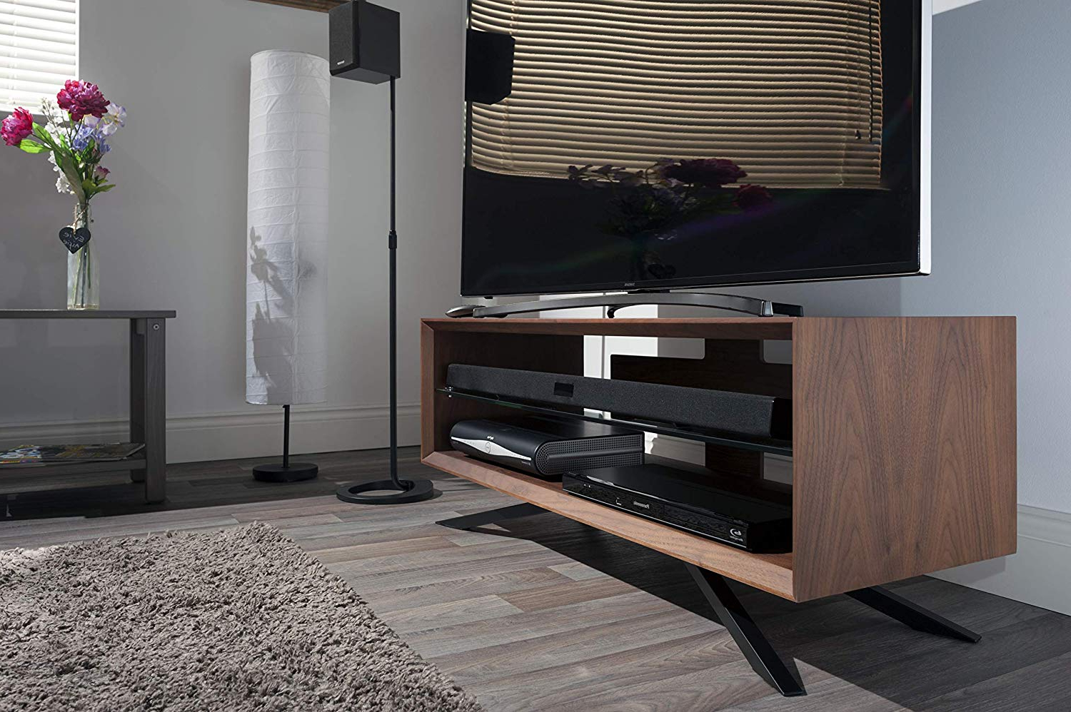 Amazon: Techlink Arena Tv Stand With Walnut Clear Glass Shelves Inside Best And Newest Techlink Arena Tv Stands (Gallery 18 of 20)