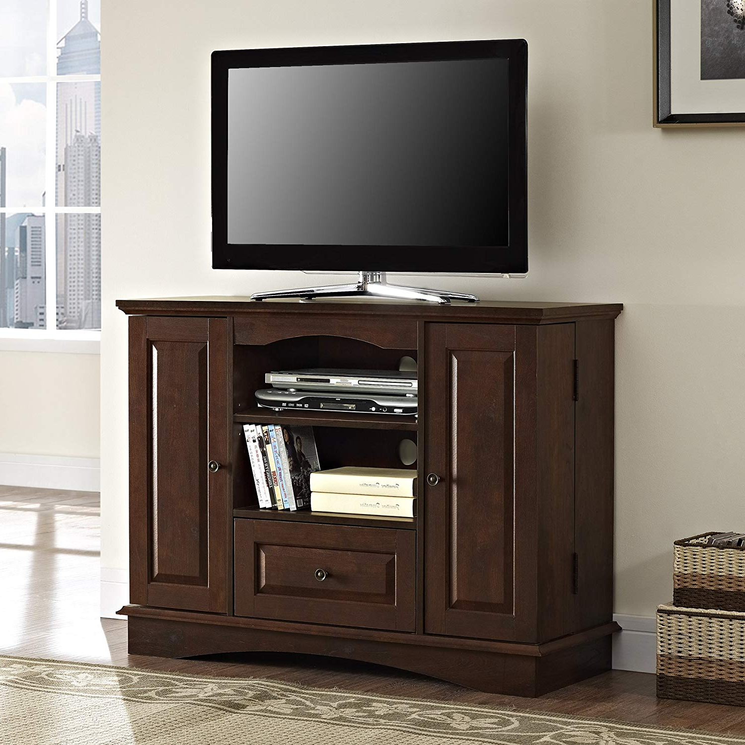 "Amazon: Walker Edison 42"" Highboy Style Wood Tv Stand Console Within Trendy Widescreen Tv Stands (View 4 of 20)"