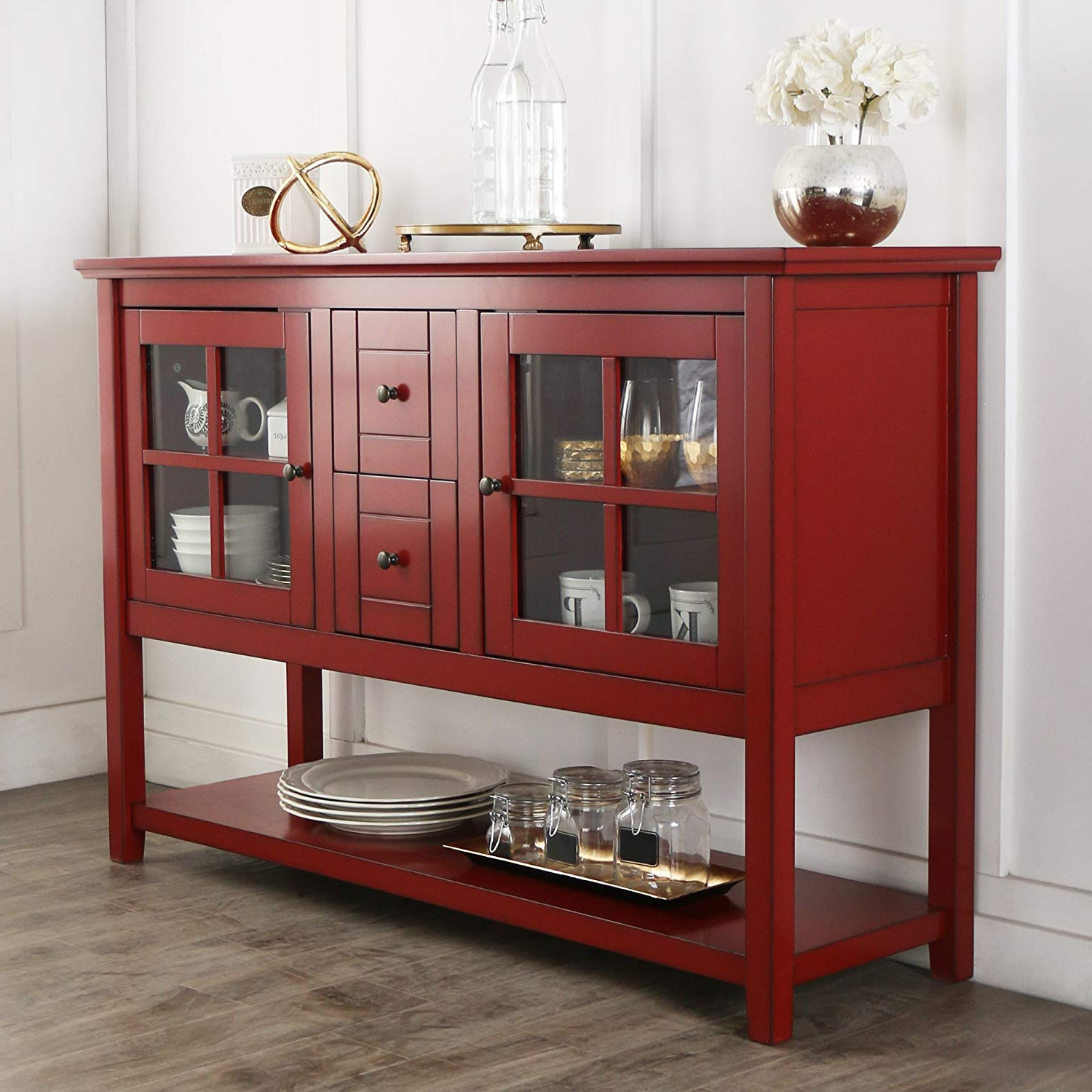 "Amazon: We Furniture 52"" Console Table Wood Tv Stand Console For Recent Red Tv Stands (View 7 of 20)"