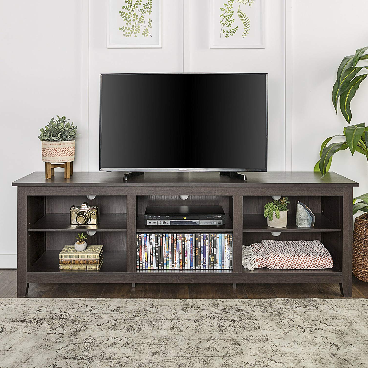 """Amazon: We Furniture 70"""" Espresso Wood Tv Stand Console: Kitchen Regarding Newest Maddy 70 Inch Tv Stands (View 3 of 20)"""