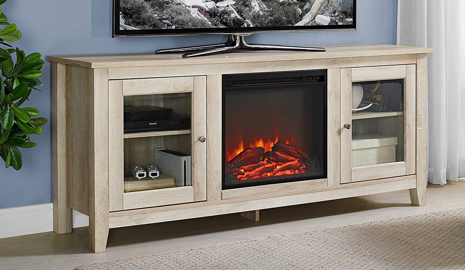 Amazon: We Furniture Az58Fp4Dwwo Fireplace Tv Stand, White Oak With Preferred Casey Grey 66 Inch Tv Stands (View 3 of 20)