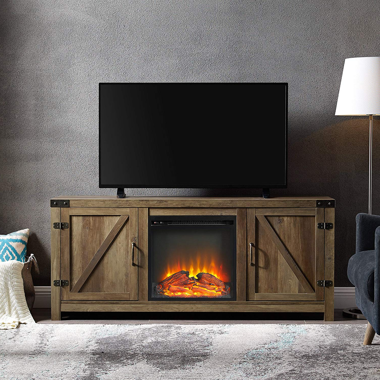 Amazon: We Furniture Az58Fpbdro Tv Stand, Rustic Oak: Kitchen With Regard To Most Up To Date Kilian Grey 49 Inch Tv Stands (View 6 of 20)