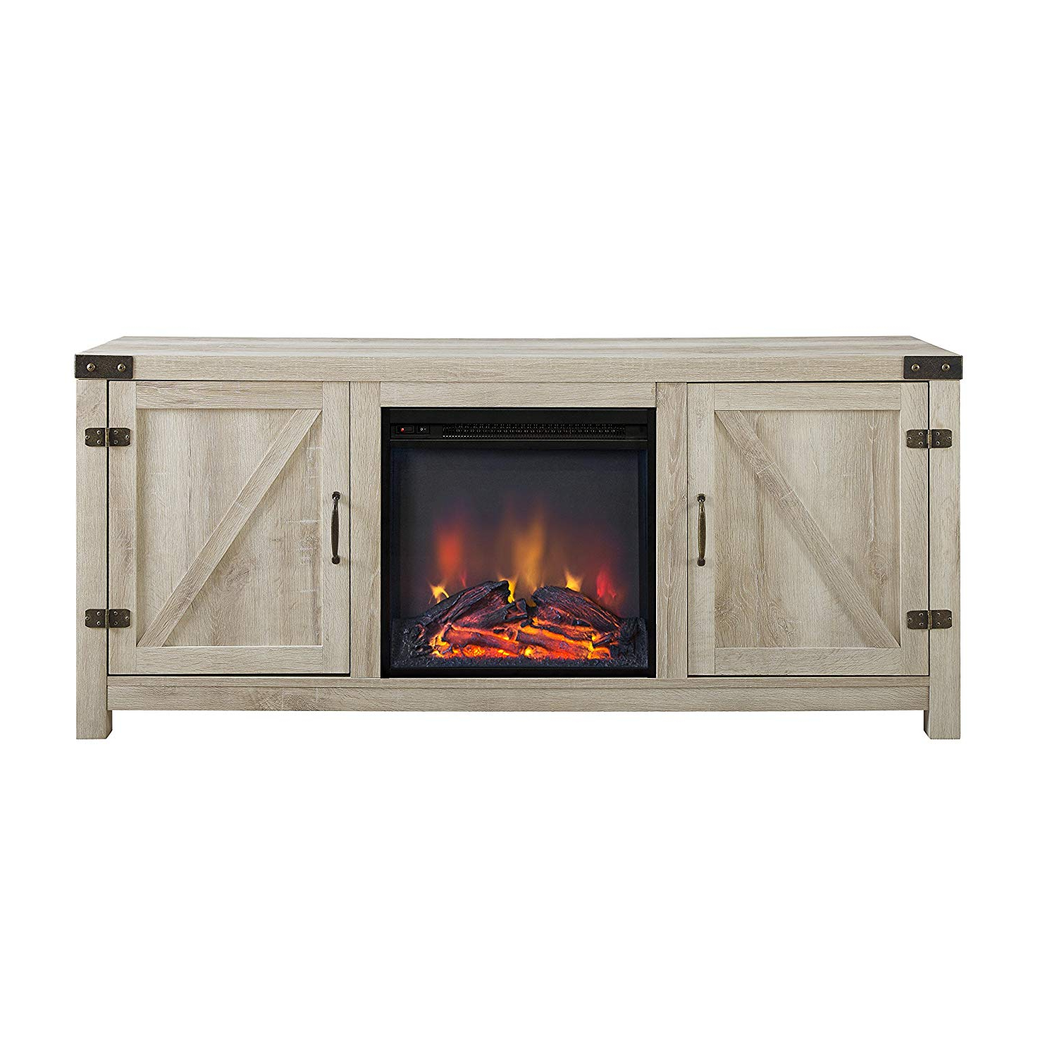 Amazon: We Furniture Az58Fpbdwo Fireplace Stand, White Oak Inside Well Liked Kilian Grey 49 Inch Tv Stands (View 5 of 20)
