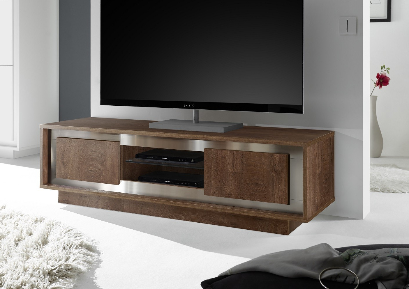 Amber – Modern Tv Unit In Oak Cognac Finish Within Most Recent Modern Tv Units (View 7 of 20)