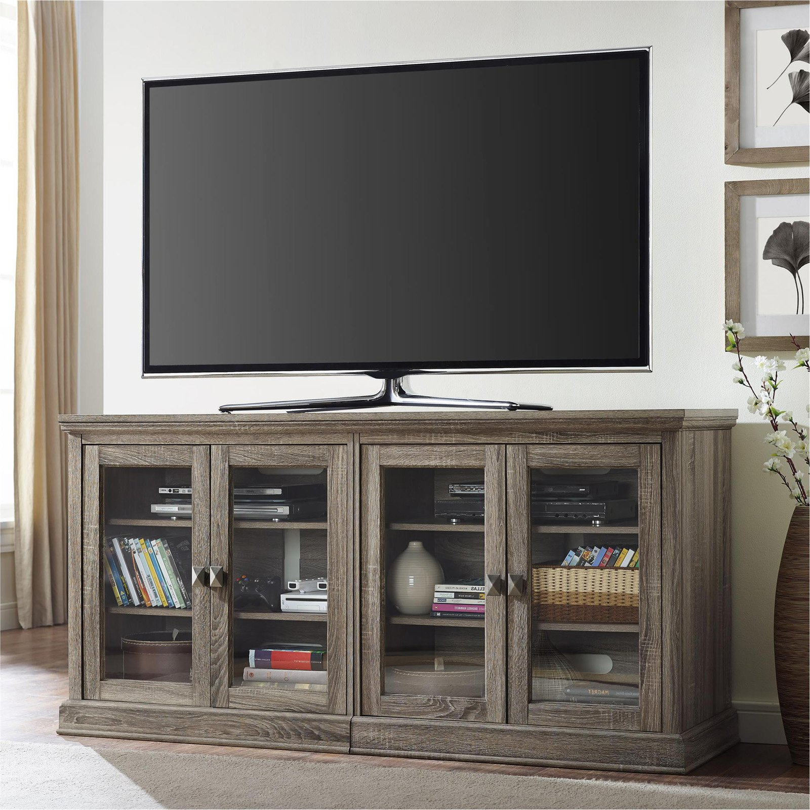 Ameriwood Home Bennett Tv Stand With Glass Doors For Tvs Up To 70 In Trendy Oak Tv Stands With Glass Doors (Gallery 5 of 20)