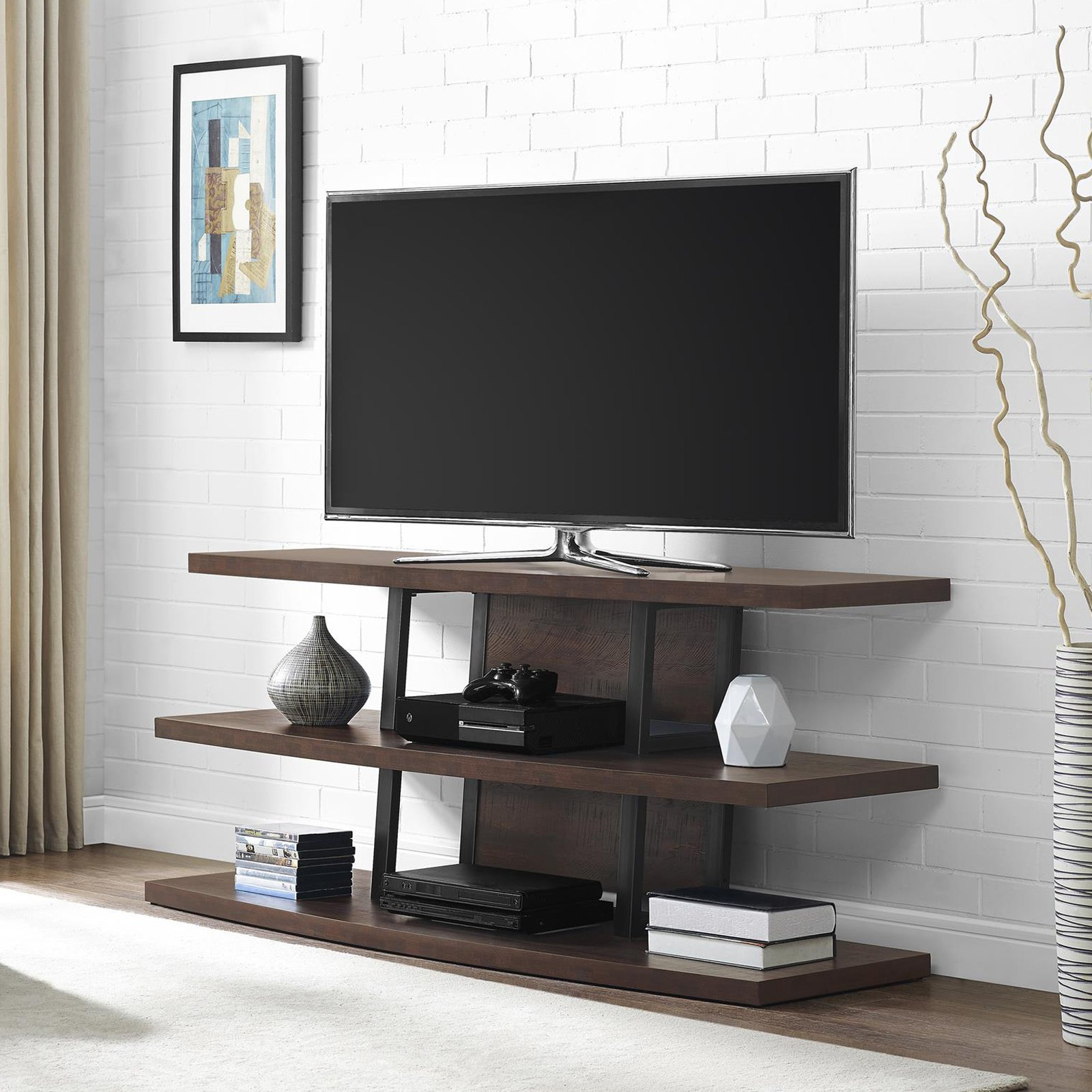 "Ameriwood Home Castling Tv Stand For Tvs Up To 55"", Espresso With Regard To Well Known Forma 65 Inch Tv Stands (View 6 of 20)"