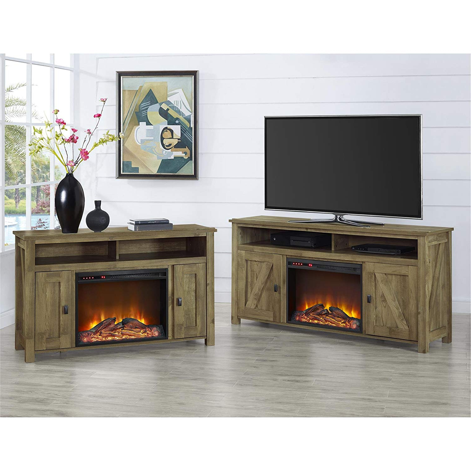 Ameriwood Home Farmington Electric Fireplace Tv Console For Tvs Up Inside Widely Used 50 Inch Fireplace Tv Stands (View 7 of 20)