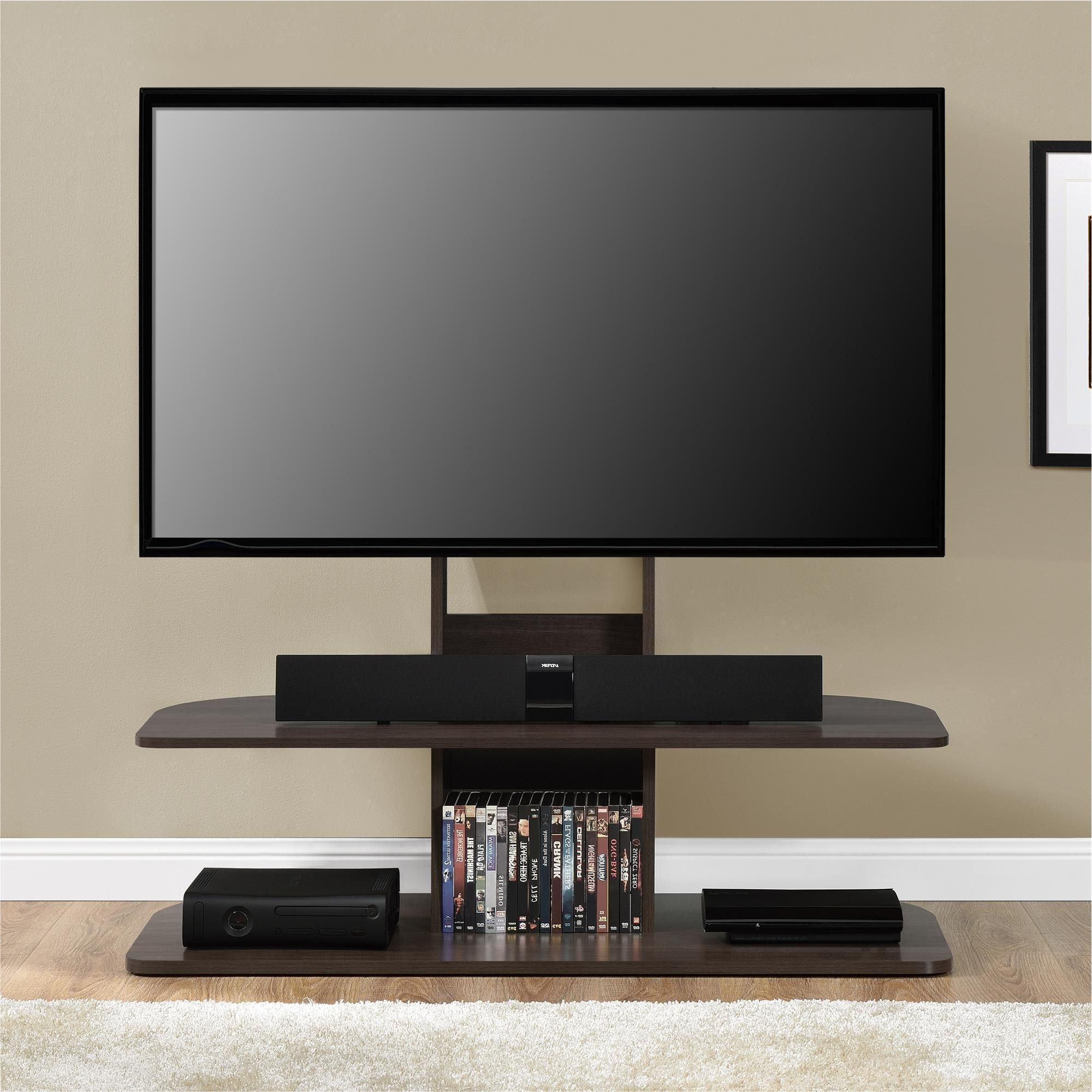 Ameriwood Home Galaxy Dark Walnut 65 Inch Tv Stand With Mount (65 Inside 2018 Dark Tv Stands (View 3 of 20)