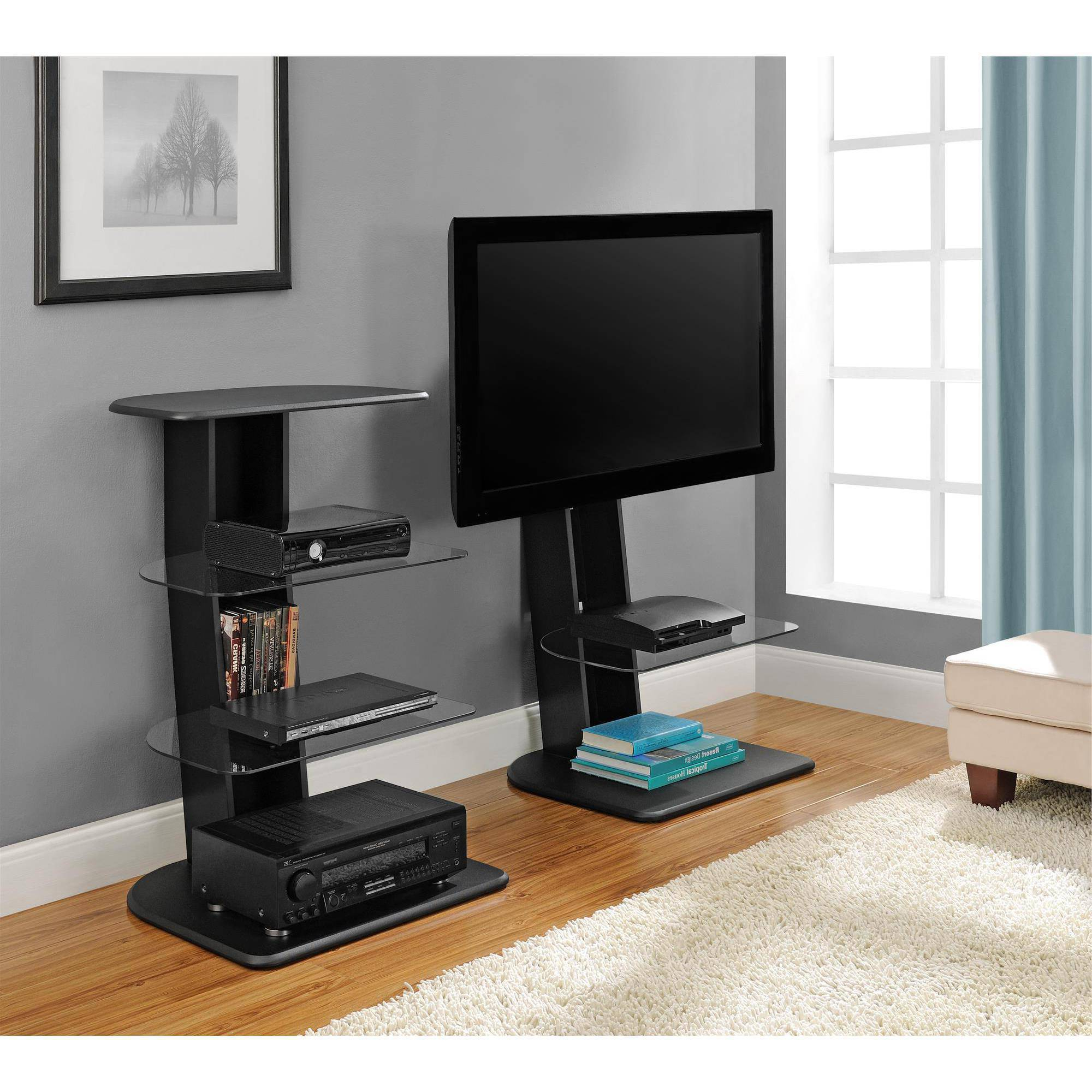 """Ameriwood Home Galaxy Tv Stand With Mount For Tvs Up To 50"""", Black Intended For Widely Used Modern Tv Stands With Mount (Gallery 7 of 20)"""
