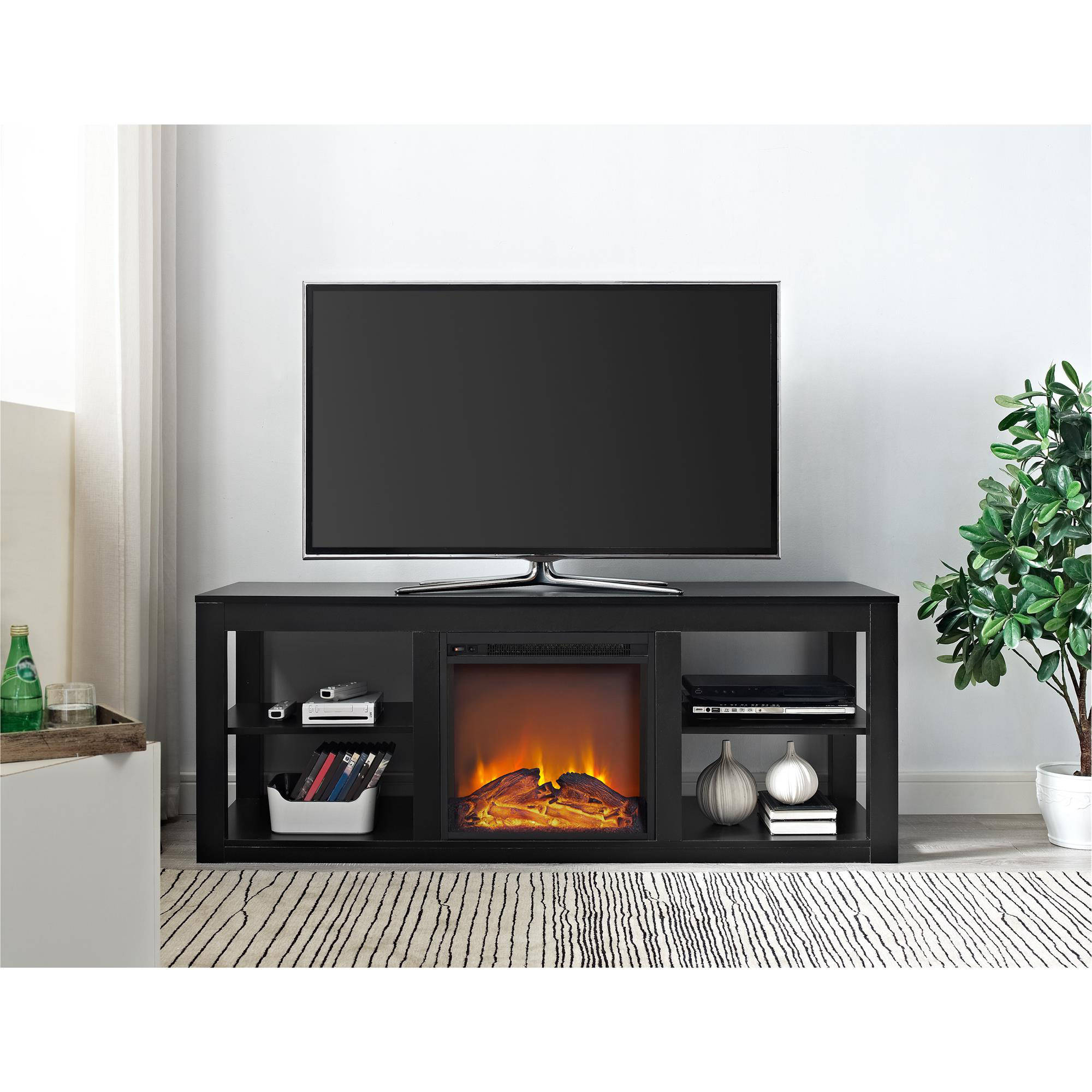 Ameriwood Home Parsons Electric Fireplace Tv Stand For Tvs Up To 65 In Most Popular Kilian Grey 49 Inch Tv Stands (Gallery 9 of 20)