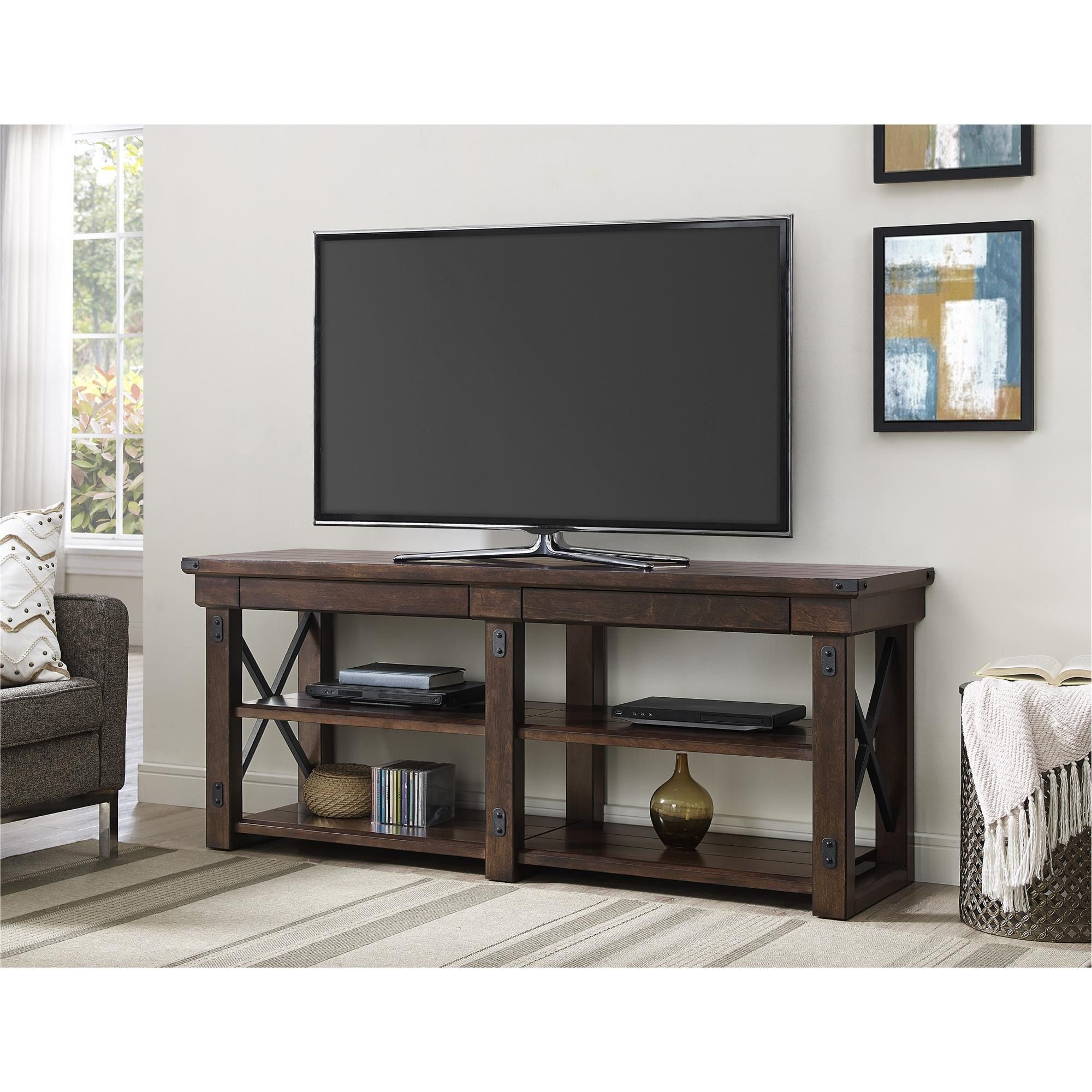 Ameriwood Home Wildwood Mahogany Veneer 65 Inch Tv Stand (65 Inch Tv In Latest Noah Rustic White 66 Inch Tv Stands (Gallery 4 of 20)
