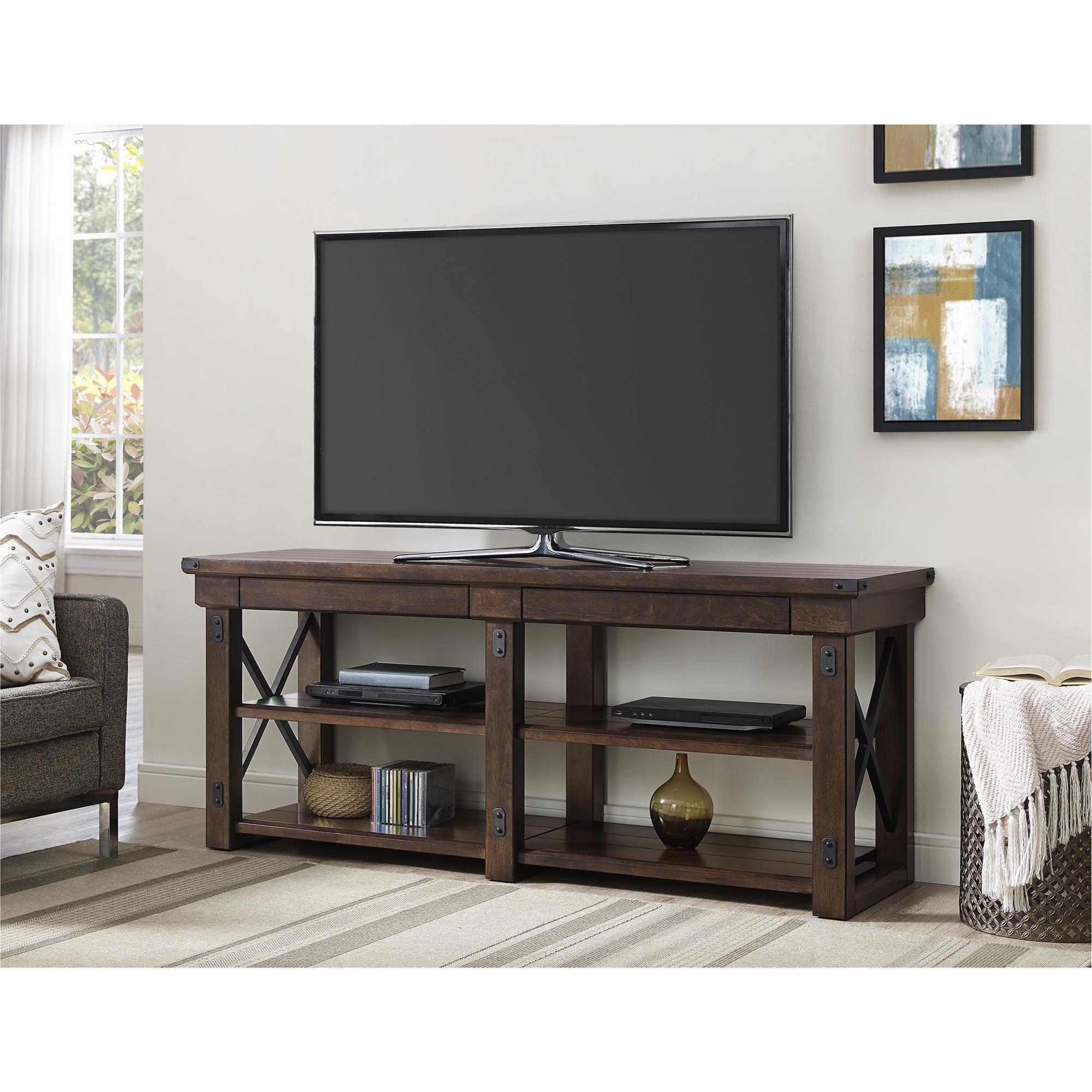 Ameriwood Home Wildwood Mahogany Veneer 65 Inch Tv Stand (65 Inch Tv Regarding Most Recent Casey Grey 74 Inch Tv Stands (View 2 of 20)