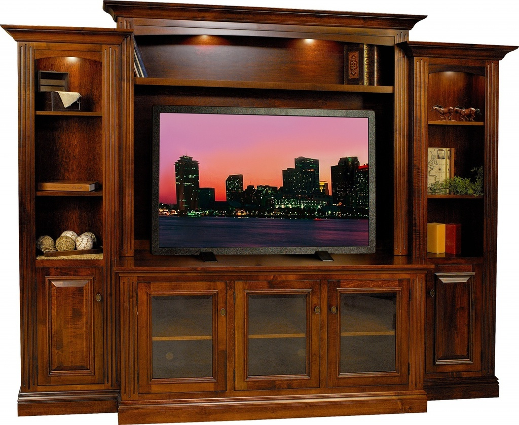 Amish Berlin Tv Entertainment Center Solid Wood Media Wall Unit With Regard To Most Up To Date Tv Entertainment Units (Gallery 7 of 20)