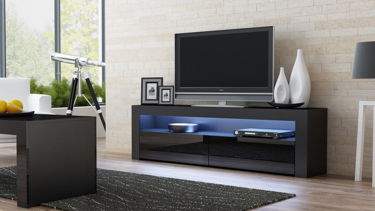 Annabelle Black 70 Inch Tv Stands Within Preferred Living Room Designs Ideas With Tv Console Milano Classic Black – Tv (View 4 of 20)