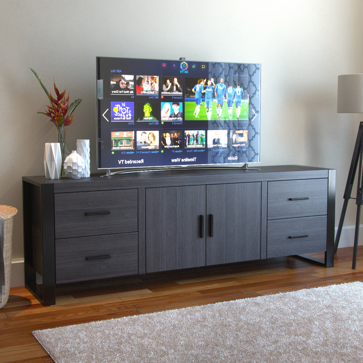 Annabelle Blue 70 Inch Tv Stands With Regard To Trendy Furniture: Milan 70 Inch Tv Stand In Charcoal And Black (Gallery 6 of 20)