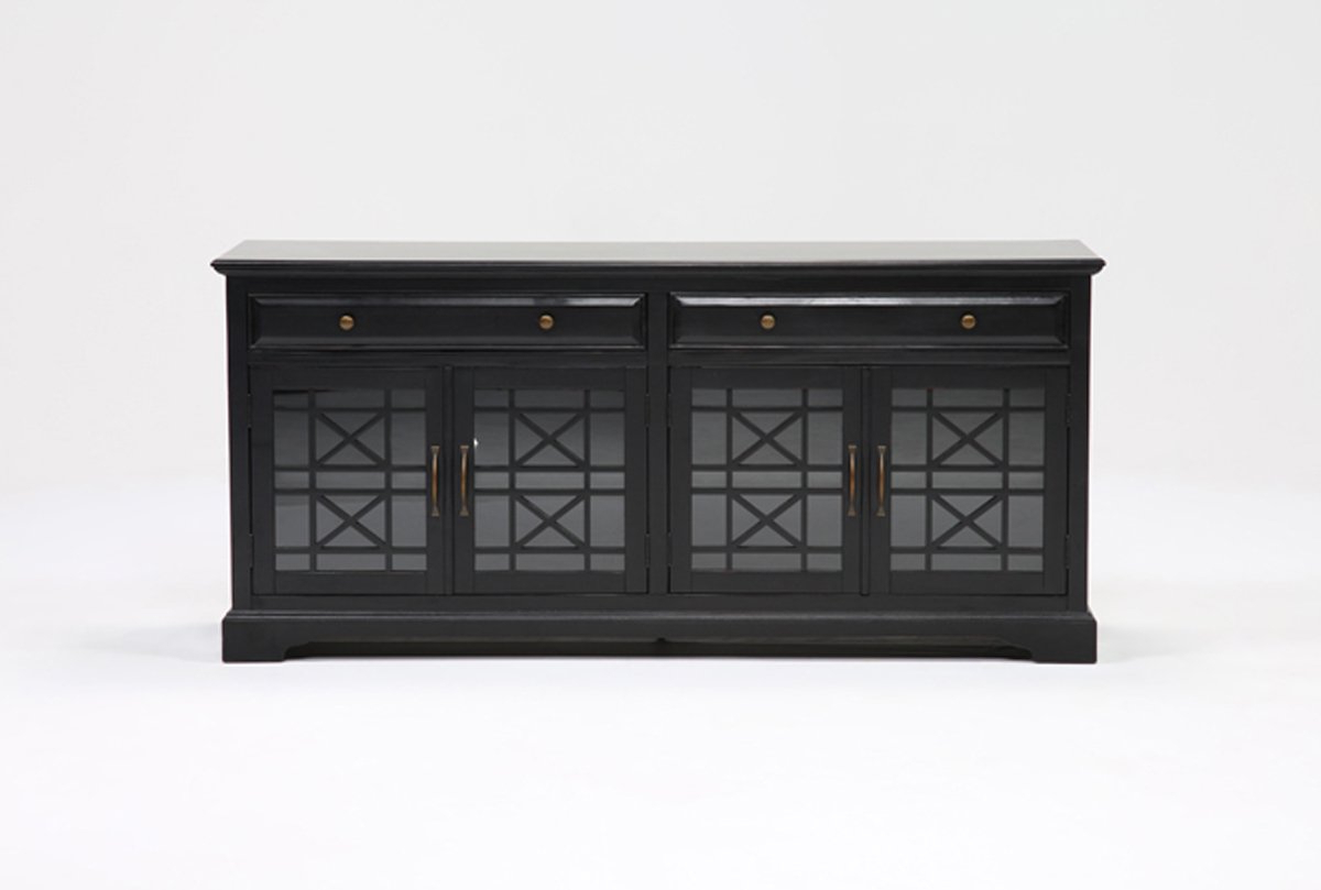 Annabelle Cream 70 Inch Tv Stands With Well Known Annabelle Black 70 Inch Tv Stand (View 8 of 20)
