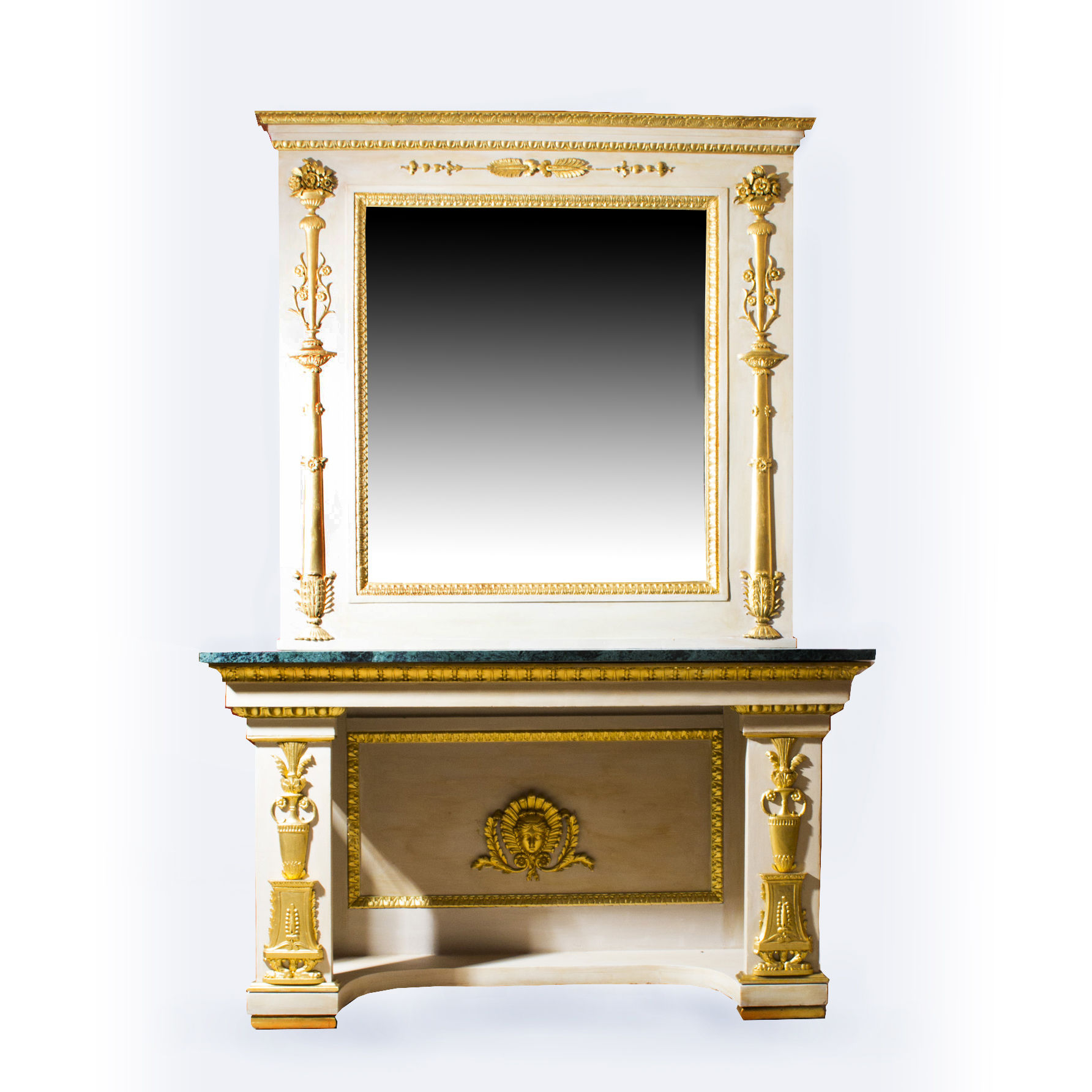 Antique Roman Console Table With Mirror & Marble Top 248 X 168 Cm (C Regarding Most Recent Roman Metal Top Console Tables (View 11 of 20)