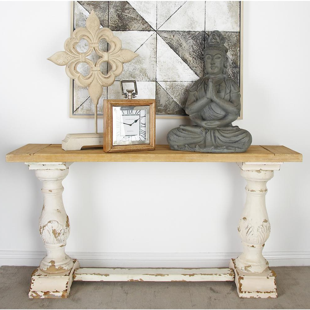 Antique White Distressed Console Tables Inside Best And Newest Litton Lane Distressed White Console Table 14840 – The Home Depot (View 1 of 20)