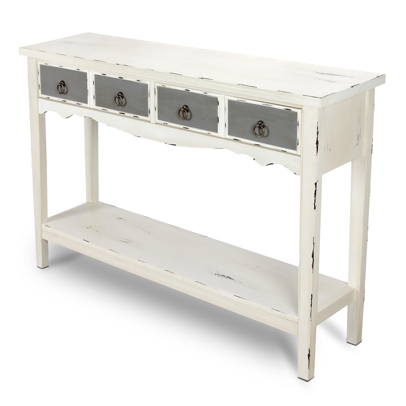 Antique White Distressed Console Tables Throughout Well Liked Modern Two Tone – Two Drawer Distressed Console Entryway Table (View 4 of 20)