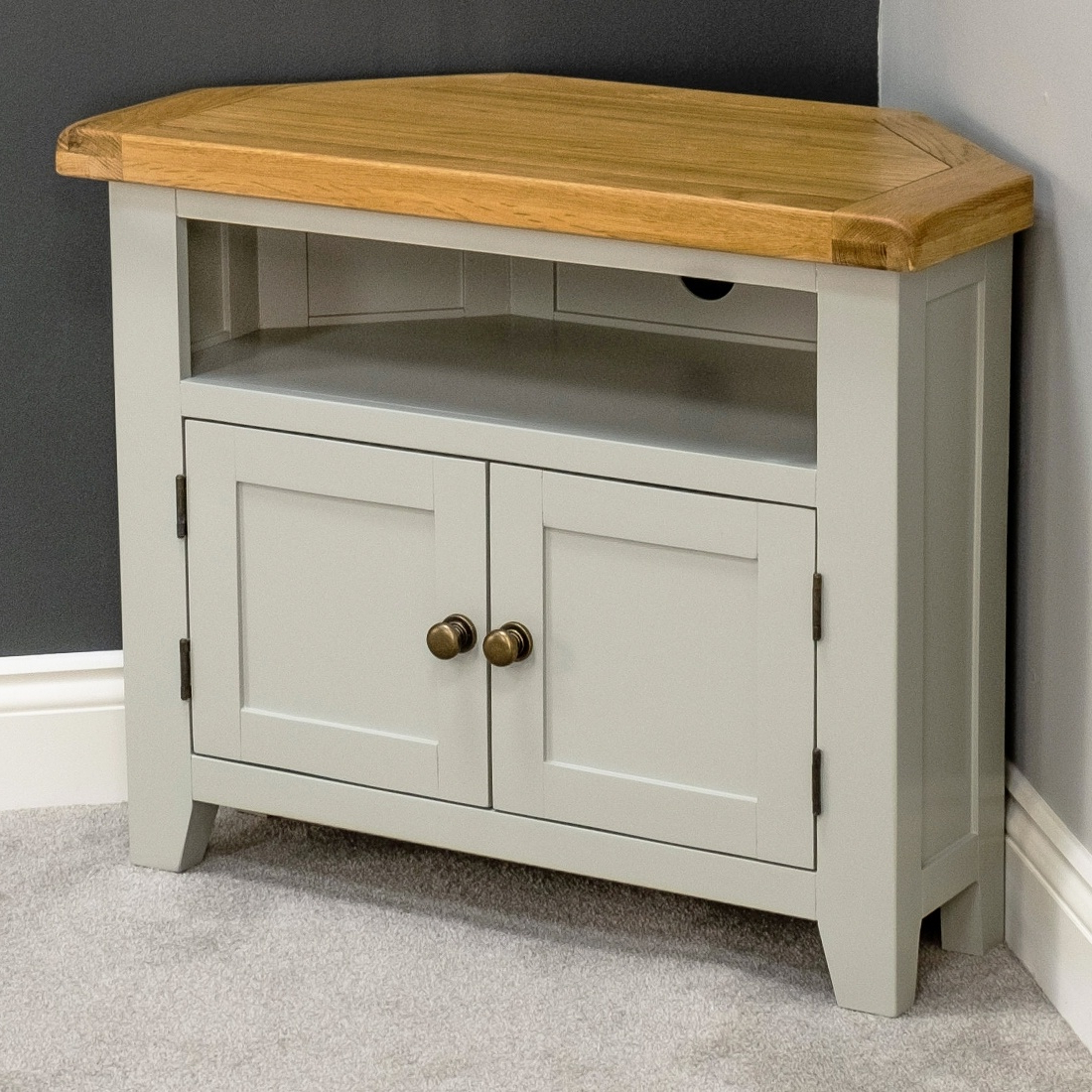 Arklow Painted Oak Corner Tv Stand / Grey Solid Tv Unit / Dvd Inside Latest Painted Tv Stands (View 3 of 20)