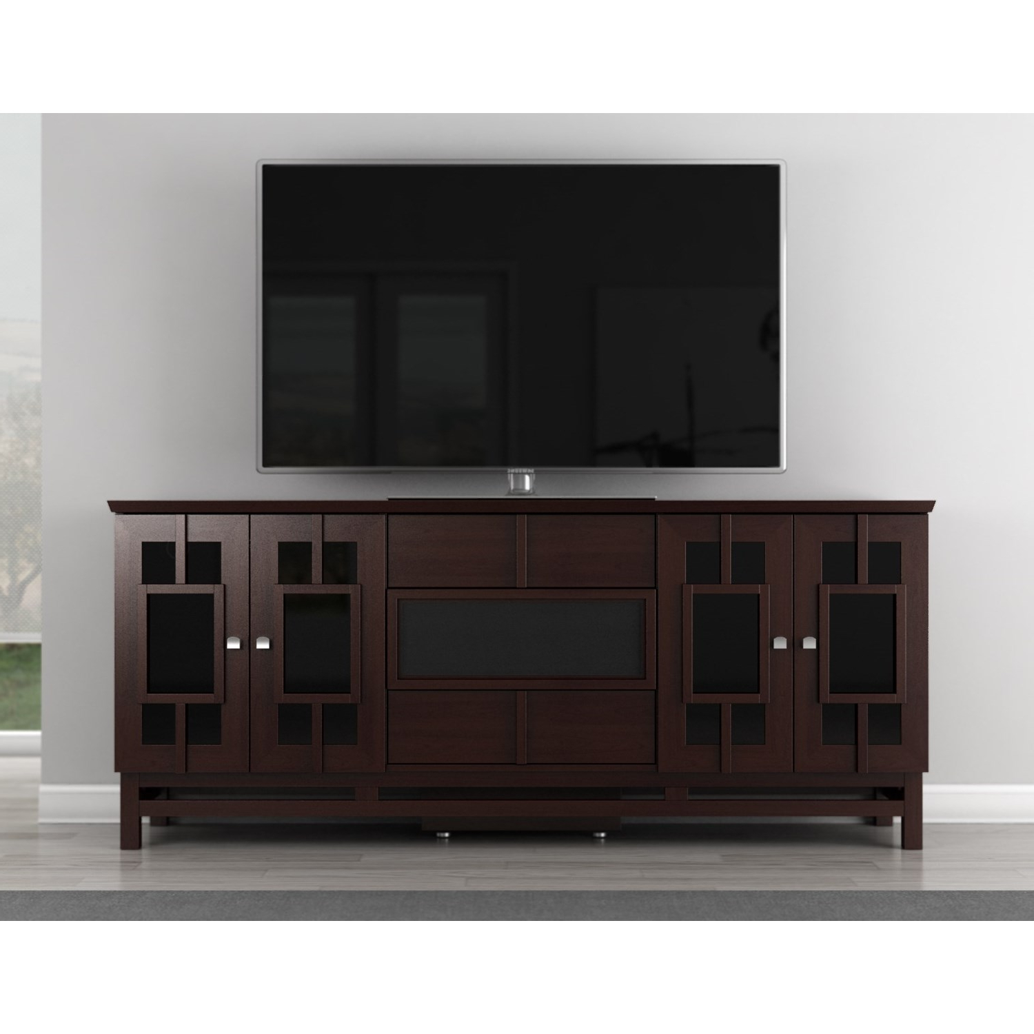 "Asian Tv Cabinets Within Favorite Furnitech Ft72Ac – 72"" Wide Contemporary Asian Tv Stand (View 6 of 20)"
