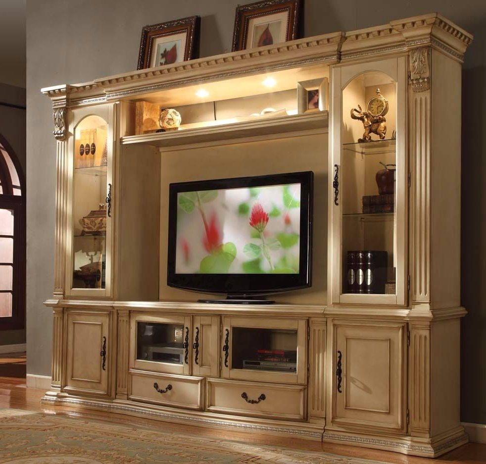 "Athens Classic Antique White 62"" Tv Entertainment Center Wall Unit For Popular Lauderdale 74 Inch Tv Stands (View 3 of 20)"