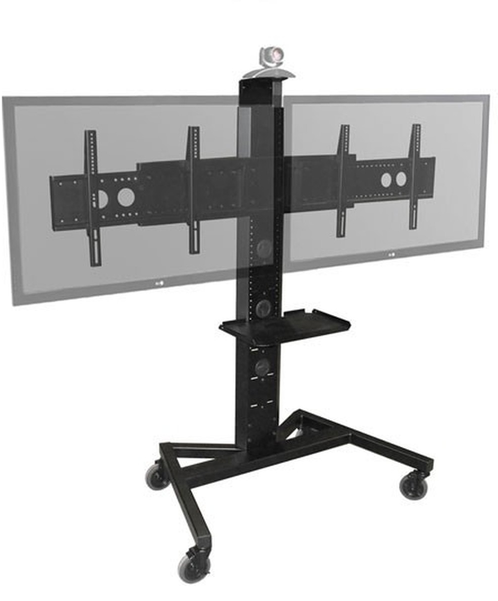 Avf Pm Xfl D Mobile Tv Stand W/ Shelf & Camera Mount, Holds Dual With Regard To Well Known Dual Tv Stands (View 3 of 20)